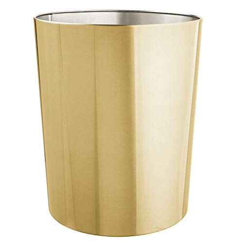 Small Trash Can Wastebasket, Garbage Container Bin for Bathrooms, Powder Rooms, Kitchens, Home Offices - Durable Stainless Steel - Soft Brass ()