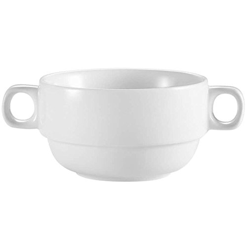 (TableTop King RCN-49 Super White 10 oz. Clinton Rolled Edge Bouillon with Handles - 24/Case)