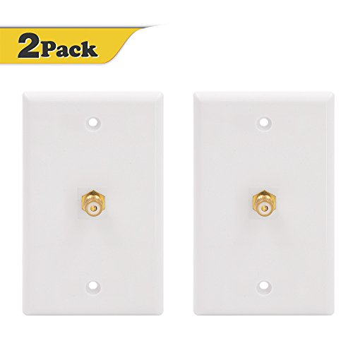 VCE 2-PACK Single RCA Connector Wall Plate for Subwoofer Audio Port-White