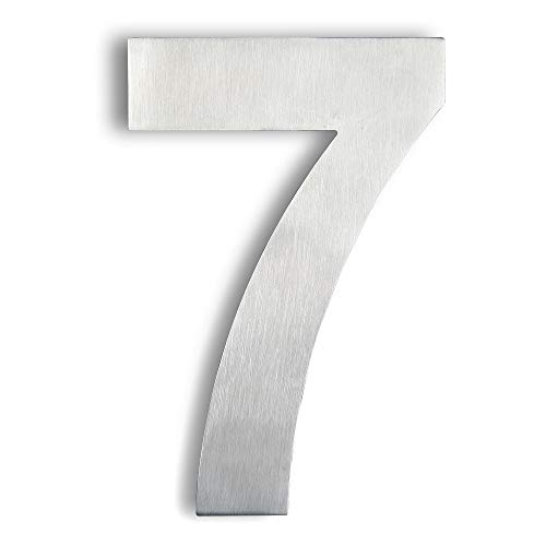 Mellewell Modern Floating House Numbers, Super Large 10 Inch, Stainless Steel 304 Brushed Nickel, Number 7 Seven