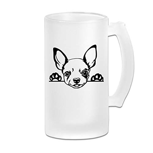 Chihuahua Dog Breed Wine Glasses Cup With Handle, 16 OZ / 500 ML Large Pub Beer Glass For - Glass Dog Wine Breed