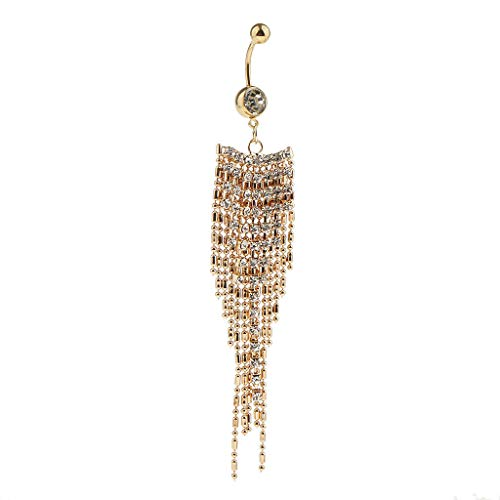 Lr Sham - Women Fashion Stainless Steel Crystal Belly Button Ring Navel (Color - Gold 1)