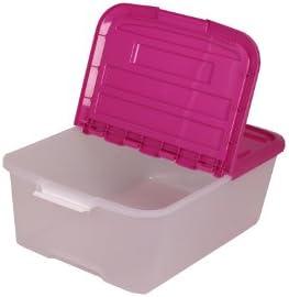 Juego de 3 cajas Sistema de ordenación, transparente, caja apilable con Comercio 45 litros, caja de plástico, caja con tapa – 45 L): Amazon.es: Hogar