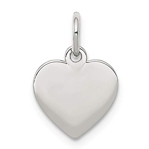 925 Sterling Silver Engraveable Heart Disc Pendant Charm Necklace Engravable Simple Shaped Plain Fine Jewelry Gifts For Women For Her ()