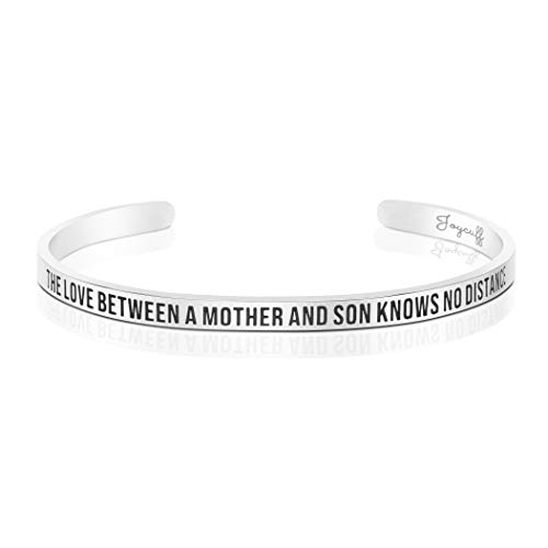 Joycuff Moving Away Mom Gifts from Son Mantra Cuff Bangle Mother Day Birthday Gifts Her The Love Between a Mother Son Knows no Distance (Best Birthday Message For Son)
