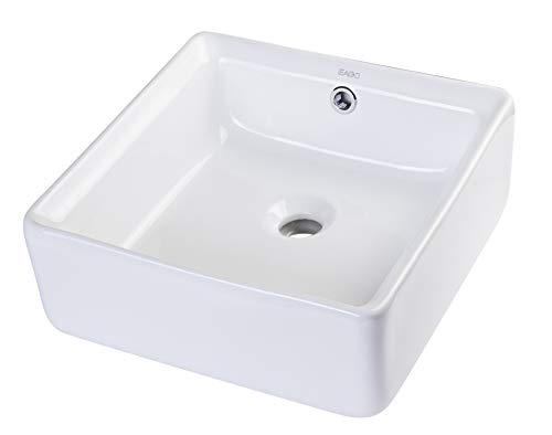 EAGO BA130 15-Inch  Square Ceramic Above Mount Bathroom Basin