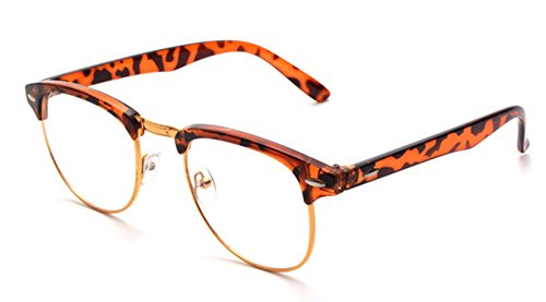 ESupFly Retro Clear Lens Glasses UV400 Eyeglasses Glasses Frame Nerd Glasses Frame for Men Women (gold+leopard-print, - Nerd Print Leopard Glasses