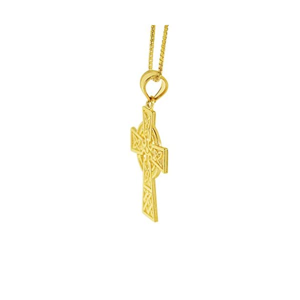 14k-Yellow-Solid-Gold-Fancy-Celtic-Cross-Religious-Pendant-with-15-mm-Flat-Wheat-Chain