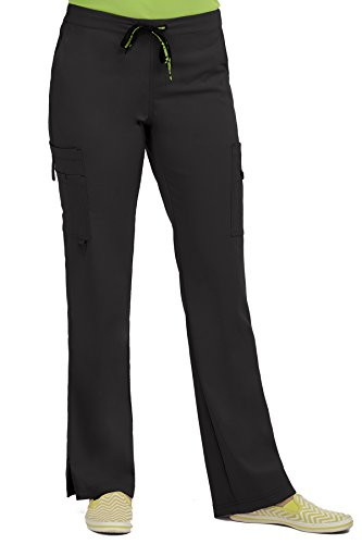 Med Couture Women's 'Activate' Hi-Definition Cargo Scrub Pant, Black, - Definition Fashion Collection