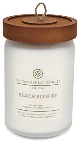 Chesapeake Bay Candle Scented Candle, Beach Bonfire (Cedarwood Oak Moss), Large Jar (Best Beach Scented Candle)
