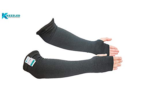 KEZZLED Kevlar Cut Heat Scratch & Knife Resistant Protective Arm Elbow Safety Sleeves with Thumb Holes |Heat, Flame, Cooking, Gardening, Autism Arm Protection Cut Level 4, EN 388 Tested (Black)