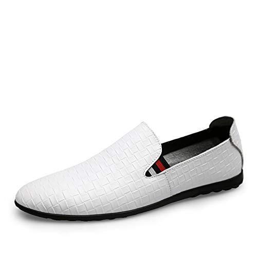 Primavera Lazy Hombre Cuero Slip Ciclismo Caminar otoño Conducción Mocasines white Zapatos Para Suave Gimnasio ons 41 Confort Gpf Suela De fei Y CItFwqIx7