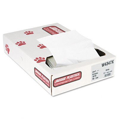 Jaguar Plastics Industrial Strength Low-Density Commercial Can Liners, 56gal, .9mil, White,100 (Unisan Liner)