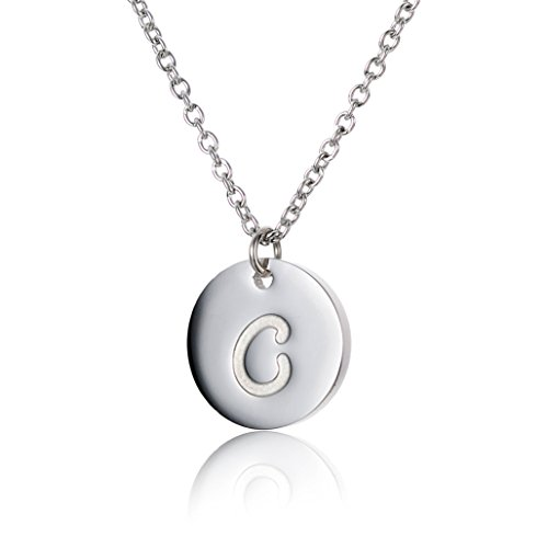HUAN XUN Stainless Steel Silver Necklace Initial Pendant Necklace C from HUAN XUN