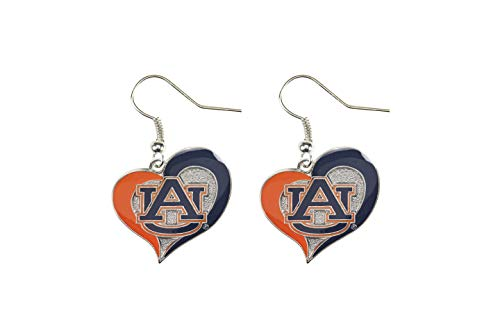 NCAA Auburn Tigers Swirl Heart Earrings