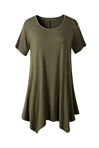 Shirt Mode Style Irrgulier Manches Manche Spcial Style Tshirt Moderne Armygreen Courtes Branch Et Top Col Tee Bouffant Elgante Uni Tops Femme Rond Casual Swqad06d