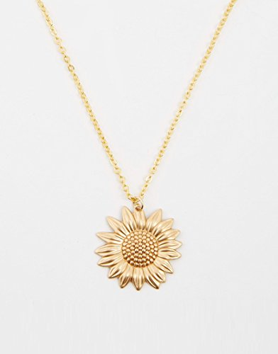 Sunflower Necklace, Gold Sunflower Charm on a Gold Cable Chain