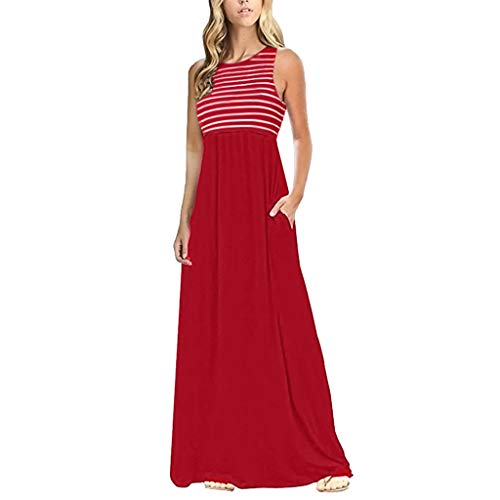 CCOOfhhc Women Loose Tank Dress Striped Maxi Dresses Casual Long Dresses Summer Beach Bohemia Party Dress with Pockets Red ()