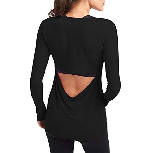 - Kiminana ❤️ Women Sexy Sports Workout Long Sleeve Open Backless Gym Yoga Blouses Tops Shirts
