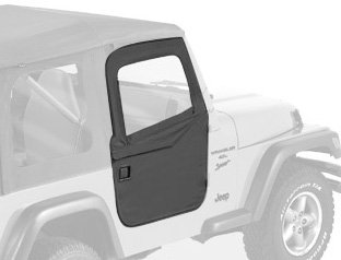 Sunrider Black Denim - Bestop 51789-15 Black Denim Front 2-Piece Door Set for 1997-2006 Wrangler TJ 2-Door and Unlimited - Front