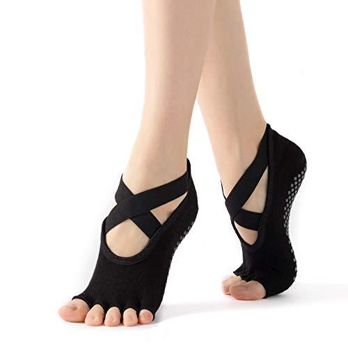WEANMIX 1 Pairs Yoga Socks Non Slip Women Toeless Half Toe Grip Socks for Ballet Pilates Barre Dance