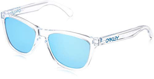Oakley Men's OO9245 Frogskins Asian Fit Rectangular Sunglasses, Polished Clear/Sapphire Iridium, 54 mm (Polarized Sunglasses Frogskins Oakley)