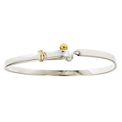 Sterling Forever - .925 Sterling Silver and Gold Vermeil Hook and Eye Bangle Bracelet
