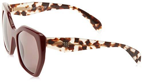 Prada Women's PR-16RS Oversized Geometric Eyeglasses, Bordeaux/Purple Brown, One Size ()