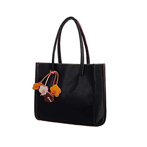 Big Sale! Kauneus Fashion Elegant Girls Handbags PU Leather Shoulder Bag Clutches Candy Color Flowers Women Totes Purse Black