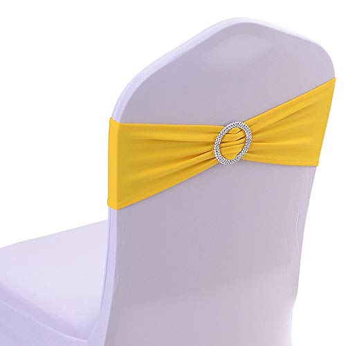 (Gold Fortune 50PCS Stretch Wedding Chair Bands with Buckle Slider Sashes Bow Decorations 25 Colors (Bright)