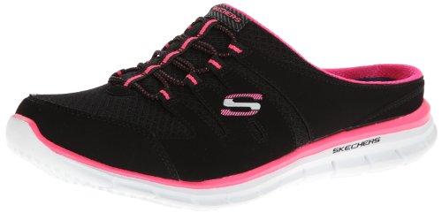 Skechers Women's Glider Fashion Sneaker,Black/White/Pink,8.5 M US