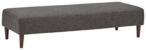 "Rivet Ava Mid-Century Ottoman Bench, 63""W, Dark Grey"