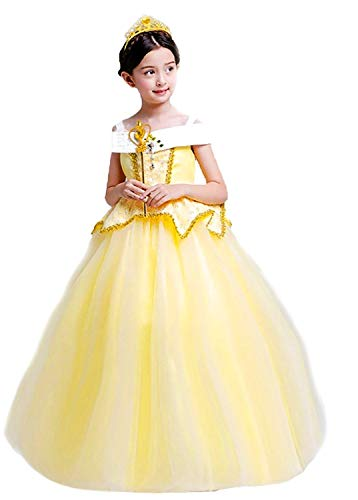 Beauty and Beast Sleeveless Off Shoulder Princess Belle Costume Halloween Party Girls Dress, (US Size 5T)