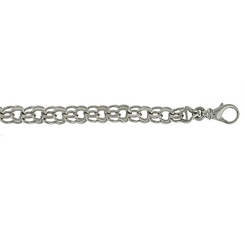 Gold Double Cable - 14k White Gold 7.4mm Double Cable Solid Chain Charm Bracelet - 8