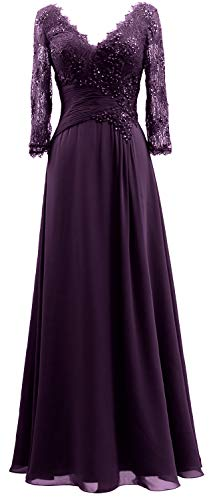Long 3 V of Mother Bride The Plum Neck Dresses 4 MACloth Sleeves Evening Women Gown 8UxS5qw41
