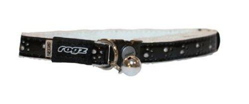 Rogz Catz Small 3/8-Inch Fluffy Cat Safeloc Breakaway Clip Adjustable Cat Collar, Black Design, My Pet Supplies