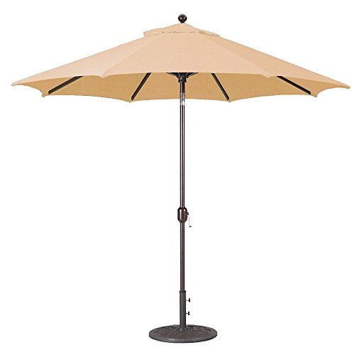 9Ft Galtech (Model 737) Deluxe Auto-Tilt Umbrella w/Antique Bronze Frame & Sunbrella Fabric: Camel