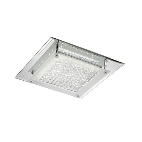 ONLI - Plafonnier moderne LED intégré 12W 4000K. Base miroir et cristaux, 28 x 28 cm