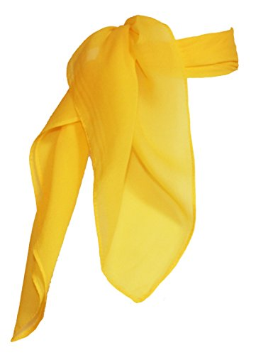 Sheer Chiffon Scarf Vintage Style Accessory for Women and Children, Yellow