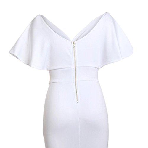 de Novia Club Baoblaze blanco Fiesta Ropa Cena Mujeres Vestido Noche Dama Honor l Nocturna Maxi wxxaYqB1I