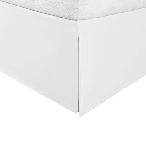 """Superior Infinity Luxury Soft 100% Brushed Microfiber Tailored Bed Skirt with 15"""" Drop, Wrinkle Resistant with Pleats and Split Corners - Queen Bedskirt, White (Bed Complete Matte White Queen)"""
