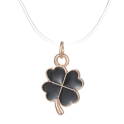 "Yves Renaud 3/4"" Black Enamel Gold Tone Four Leaf Clover Charm Pendant Clear Choker Necklace - Fashion Jewelry Women, Girls - 13"" Transparent Fishing Line Chain with 2"" Extender"