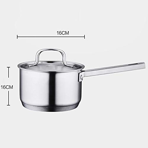 ROBDAE Saucepans Stainless Steel Saucepan with Lid for Home Kitchen Restaurant Cooking Multi Function Butter Warmer (Color : Silver, Size : 16cm)