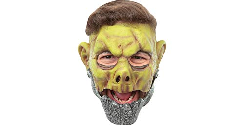 (Ghoulish Productions Metal Jaw Plated Steel Monster Open Top Hair Opening Adult Latex Mask)