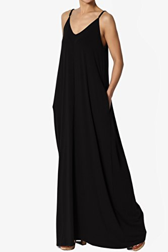 b460d2e4563de TheMogan Casual Beach V-Neck Draped Soft Jersey Cami Long Maxi Dress with  Pocket at Amazon Women's Clothing store: