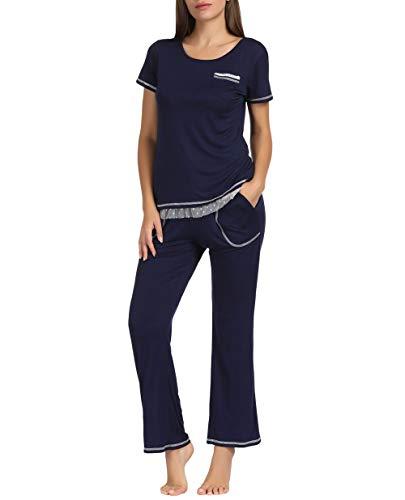 Ladies Nightwear - Zexxxy 2 PCS Womens Soft Cotton Pajamas Set for Ladies Nightwear Top & Bottoms with Two Pockets Sleepwear(Navy Blue,Size M)