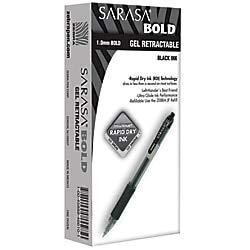 Zebra Sarasa Retractable Gel Ink Pens, Bold Point 1.0mm, Black, Rapid Dry Ink, 12-Count