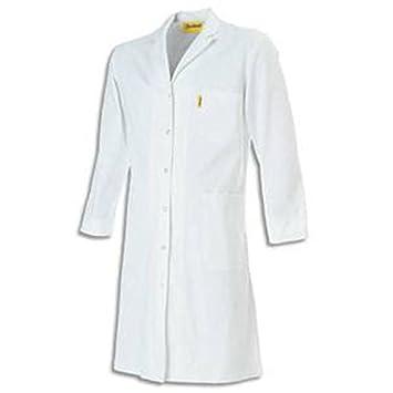 Bata blanca de 100% algodón cierre boutons-pressions 3 compartimentos, para mujeres, talla 38: Amazon.es: Oficina y papelería