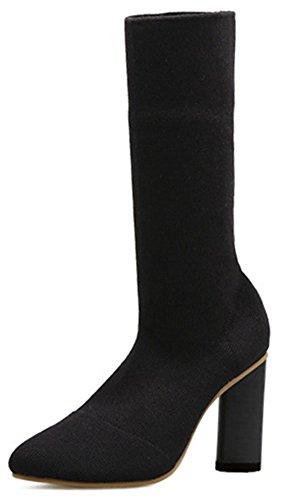 Easemax Women's Sweet Pointed Toe High Block Heel Pull On Mid Calf Booties Black ZJzBm