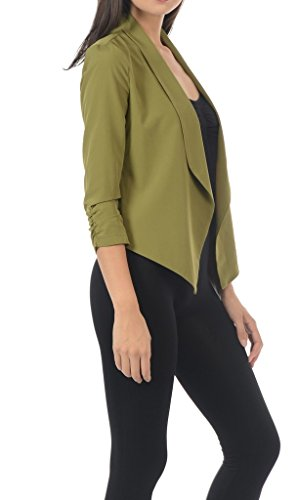 Auliné Collection Womens Casual Lightweight 3/4 Sleeve Fitted Open Blazer Dk Olive 3XL